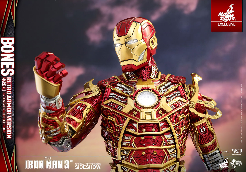 HOT TOYS EXCLUSIVE – IRON MAN 3 – Iron Man Mark XLI – Bones (Retro Armor  Version) – Movie Masterpiece 9ab0208bd94