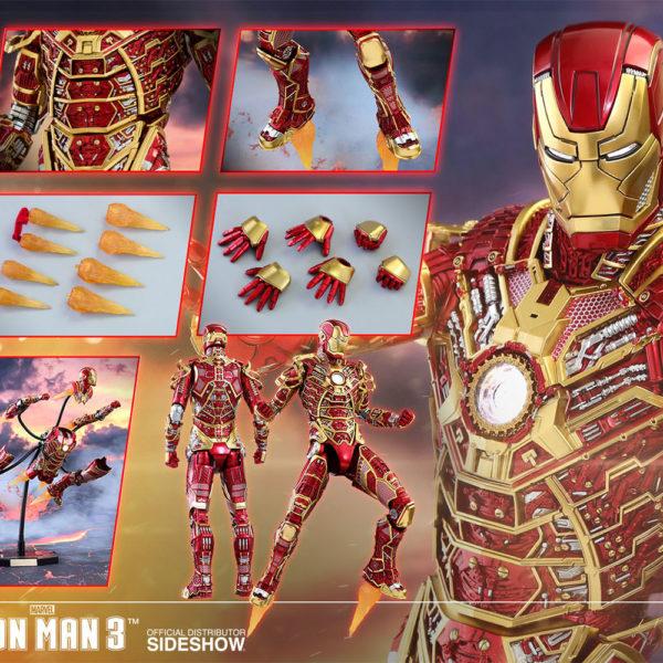 HOT TOYS EXCLUSIVE - IRON MAN 3 - Iron Man Mark XLI – Bones (Retro Armor Version) - Movie Masterpiece - 9