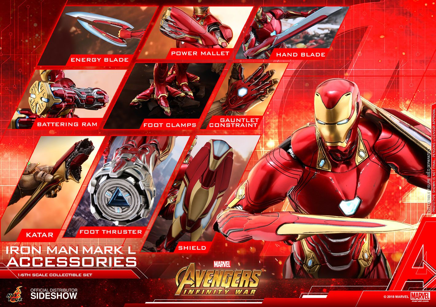 HOT TOYS - MARVEL - AVENGERS Infinity War - Accessories Collection Series -  Iron Man Mark L Accessories